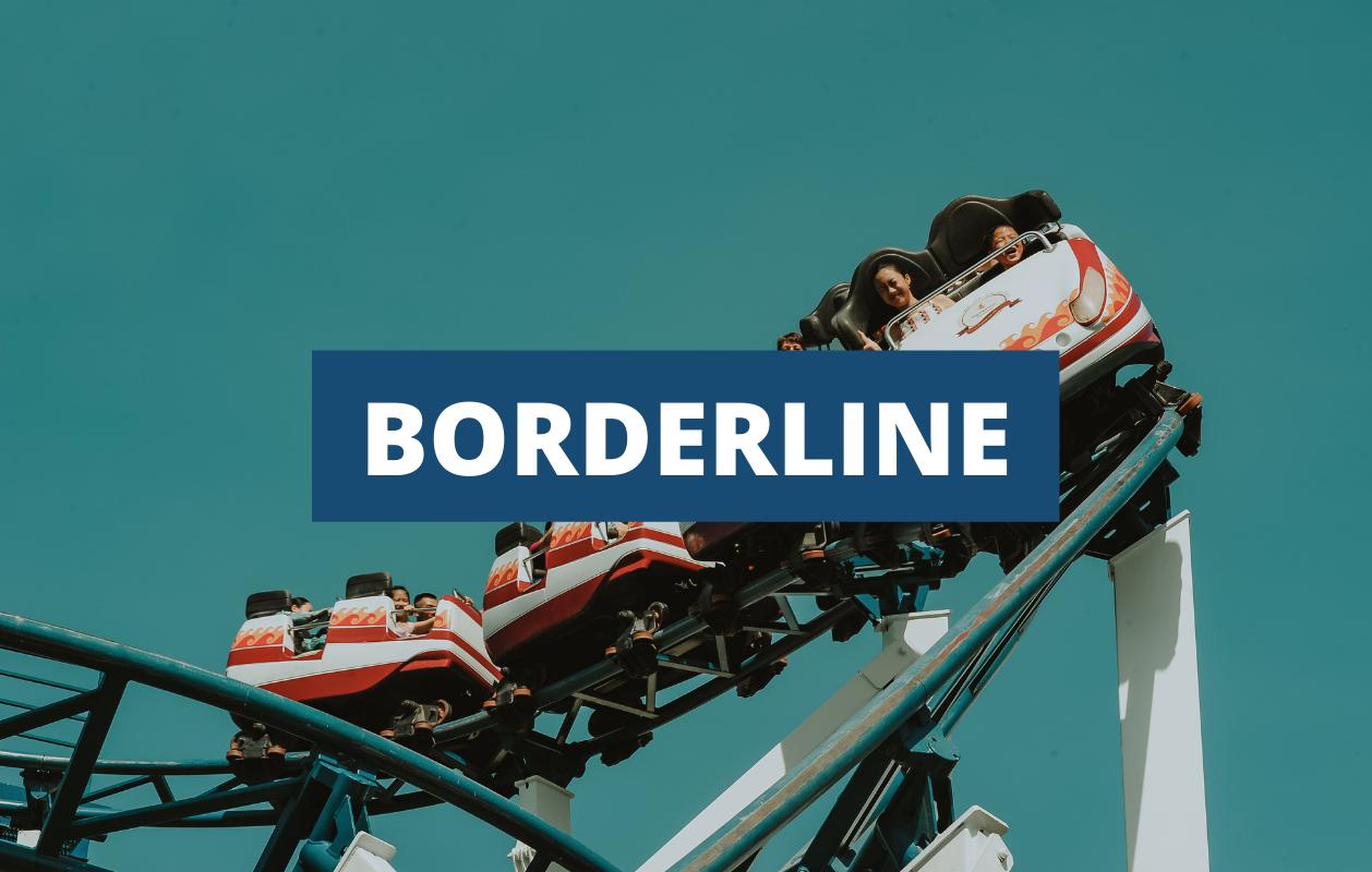 Napis: border line; w tle roller coaster